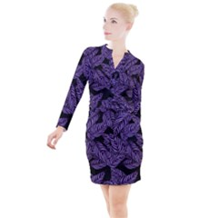 Tropical Leaves Purple Button Long Sleeve Dress