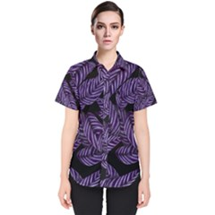 Tropical Leaves Purple Women s Short Sleeve Shirt