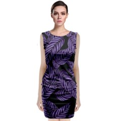 Tropical Leaves Purple Sleeveless Velvet Midi Dress
