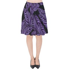 Tropical Leaves Purple Velvet High Waist Skirt
