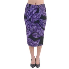 Tropical Leaves Purple Velvet Midi Pencil Skirt