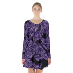 Tropical Leaves Purple Long Sleeve Velvet V Neck Dress
