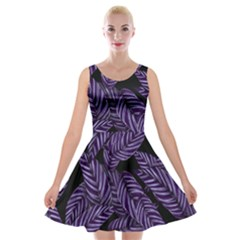 Tropical Leaves Purple Velvet Skater Dress