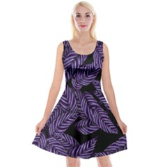 Tropical Leaves Purple Reversible Velvet Sleeveless Dress