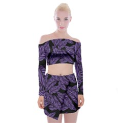 Tropical Leaves Purple Off Shoulder Top With Mini Skirt Set