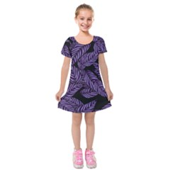 Tropical Leaves Purple Kids  Short Sleeve Velvet Dress