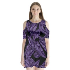 Tropical Leaves Purple Shoulder Cutout Velvet One Piece