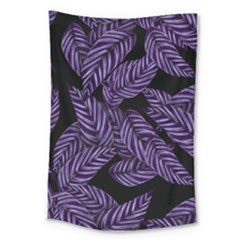 Tropical Leaves Purple Large Tapestry
