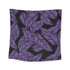 Tropical Leaves Purple Square Tapestry (small)