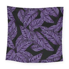 Tropical Leaves Purple Square Tapestry (large) by vintage2030