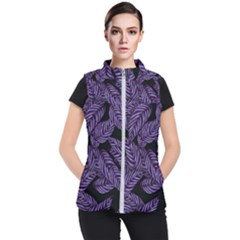 Tropical Leaves Purple Women s Puffer Vest