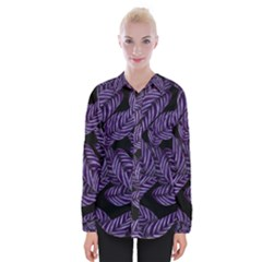 Tropical Leaves Purple Womens Long Sleeve Shirt