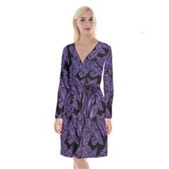 Tropical Leaves Purple Long Sleeve Velvet Front Wrap Dress
