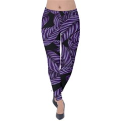 Tropical Leaves Purple Velvet Leggings