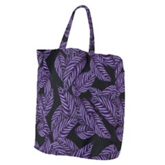 Tropical Leaves Purple Giant Grocery Tote