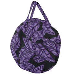 Tropical Leaves Purple Giant Round Zipper Tote