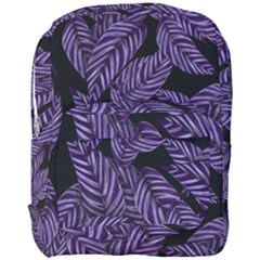 Tropical Leaves Purple Full Print Backpack