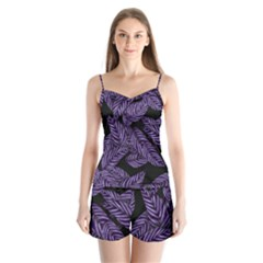 Tropical Leaves Purple Satin Pajamas Set