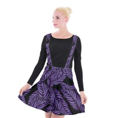 Tropical Leaves Purple Suspender Skater Skirt