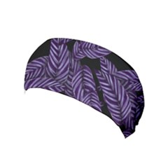 Tropical Leaves Purple Yoga Headband
