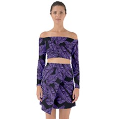Tropical Leaves Purple Off Shoulder Top With Skirt Set