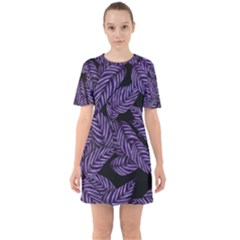 Tropical Leaves Purple Sixties Short Sleeve Mini Dress