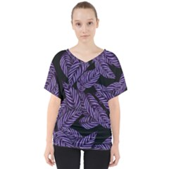 Tropical Leaves Purple V Neck Dolman Drape Top