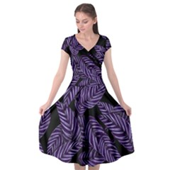 Tropical Leaves Purple Cap Sleeve Wrap Front Dress