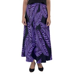 Tropical Leaves Purple Flared Maxi Skirt