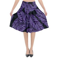 Tropical Leaves Purple Flared Midi Skirt