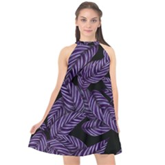Tropical Leaves Purple Halter Neckline Chiffon Dress