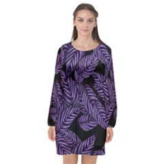 Tropical Leaves Purple Long Sleeve Chiffon Shift Dress