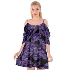 Tropical Leaves Purple Cutout Spaghetti Strap Chiffon Dress