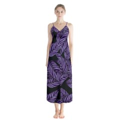 Tropical Leaves Purple Button Up Chiffon Maxi Dress