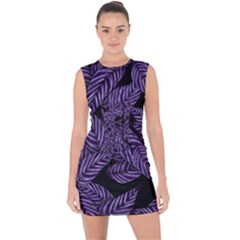 Tropical Leaves Purple Lace Up Front Bodycon Dress