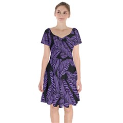 Tropical Leaves Purple Short Sleeve Bardot Dress