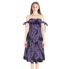 Tropical Leaves Purple Shoulder Tie Bardot Midi Dress