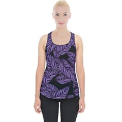 Tropical Leaves Purple Piece Up Tank Top