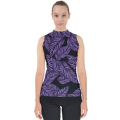 Tropical Leaves Purple Mock Neck Shell Top