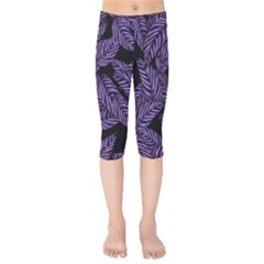 Tropical Leaves Purple Kids  Capri Leggings