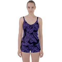 Tropical Leaves Purple Tie Front Two Piece Tankini