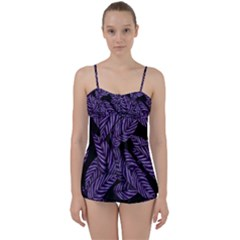 Tropical Leaves Purple Babydoll Tankini Set