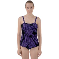 Tropical Leaves Purple Twist Front Tankini Set