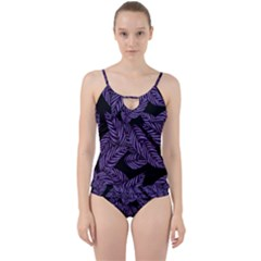 Tropical Leaves Purple Cut Out Top Tankini Set