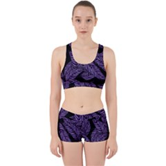Tropical Leaves Purple Work It Out Gym Set