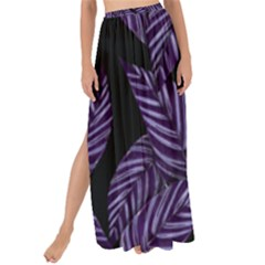 Tropical Leaves Purple Maxi Chiffon Tie Up Sarong