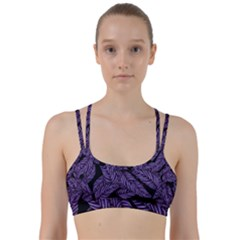 Tropical Leaves Purple Line Them Up Sports Bra