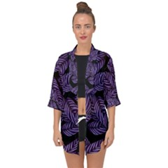 Tropical Leaves Purple Open Front Chiffon Kimono