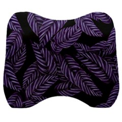 Tropical Leaves Purple Velour Head Support Cushion