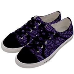 Tropical Leaves Purple Men s Low Top Canvas Sneakers by vintage2030